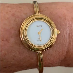 Vintage Gucci Women's Gold Plated Bangle Watch